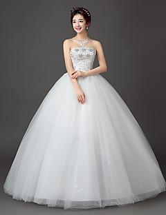 공 드레스 strapless 바닥 길이 레이스 새틴 얇은 명주 그물 드레스와 수 놓은 신부에 의해 크리스탈
