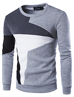 Men's Daily Casual Sweatshirt Color Block Round Neck Cotton Polyester Long Sleeve Winter Fall