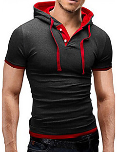Men's Daily Sports Casual Active Summer T-shirt,Color Block Short Sleeves Cotton Others Medium