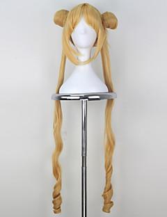コスプレウィッグ 美少女戦士セーラームーン Sailor Moon イエロー ロング丈 アニメ系 コスプレウィッグ 100 CM 耐熱繊維 女性用