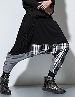 billige Herrebukser og -shorts-Herre Punk & Gotisk Bomull Løstsittende Chinos Avslappet Bukser Lapper