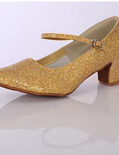 baratos -Mulheres Sapatos de Dança Latina Glitter / Cetim Salto Gliter com Brilho Salto Robusto Personalizável Sapatos de Dança Prata / Dourado