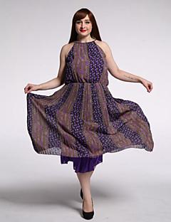 plaja / plus dimensiunea boho rochie de leagăn dulce femei curbei, de imprimare a rundă gât maxi fără mâneci mov bumbac / lenjerie de vară