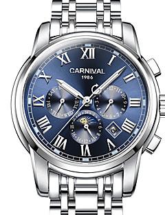 Χαμηλού Κόστους Brand Watches-Carnival Ανδρικά Αυτόματο κούρδισμα μηχανικό ρολόι Διάφανο Ρολόι Αθλητικό Ρολόι Εσωτερικού Μηχανισμού Φάση Σελήνης Νυχτερινή λάμψη