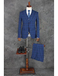 Blue Stripes Slim Fit Polyester Suit - Notch Single Breasted Two-buttons