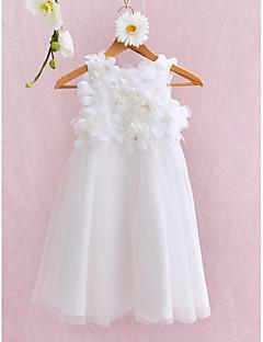 tanie Sukienki dla dziewczynek z kwiatami-Balowa Do kolan Sukienka dla dziewczynki z kwiatami - Tiul Bez rękawów Zaokrąglony z Kwiat przez LAN TING BRIDE®