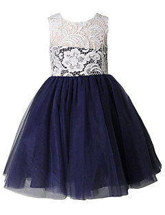 tanie Sukienki dla dziewczynek z kwiatami-Krój A Do kolan Sukienka dla dziewczynki z kwiatami - Koronka Tiul Bez rękawów Wycięcie z Koronka przez LAN TING Express