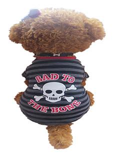 犬 Tシャツ 犬用ウェア 高通気性 ストラップ柄 スカル グレイ/レッド コスチューム ペット用