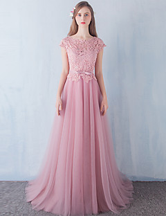 A-Line Scoop Neck Floor Length Lace Tulle Stretch Satin Formal Evening Dress with Beading Bow(s) Lace Sash / Ribbon by DRRS