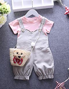 billige Babytøj-Baby Pige Tøjsæt Daglig Bomuld Forår Sommer Efterår Kortærmet Tegneserie Rød Lys pink Kakifarvet