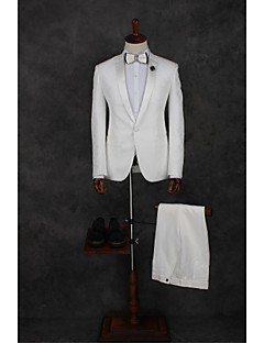White Solid Tailored Fit Polyester Suit - Notch Single Breasted One-button