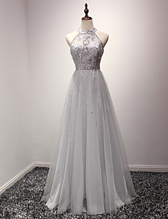 A-Line Jewel Neck Floor Length Organza Cocktail Party Prom Formal Evening Dress with Crystal Detailing by Luoge