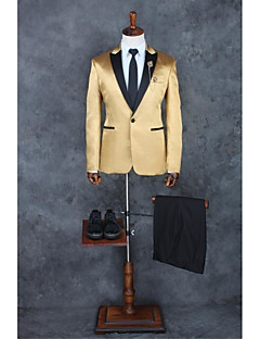 Champagne Solid Tailored Fit Polyester Suit - Peak Single Breasted One-button