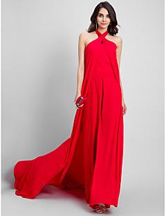 Ίσια Γραμμή Δένει στο Λαιμό Ουρά μέτριου μήκους Σιφόν Επίσημο Βραδινό Φόρεμα με Πλισέ με TS Couture®