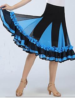 ボールルームダンス ボトムズ 女性用 ダンスパフォーマンス スパンデックス ドレープ 1個 ノースリーブ ローウエスト スカート