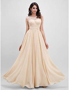 cheap -A-Line Illusion Neckline Floor Length Chiffon Prom / Formal Evening Dress with Flower Ruched by TS Couture®