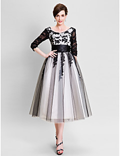 A-Line Bateau Neck Tea Length Tulle Mother of the Bride Dress with Pleats by MD