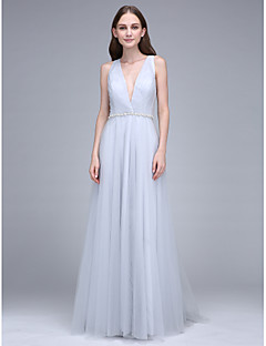 Sheath / Column V-neck Sweep / Brush Train Tulle Bridesmaid Dress with Crystal Detailing by LAN TING BRIDE®
