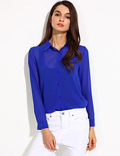Χαμηλού Κόστους Chic Shirts-Γυναικεία Πουκάμισο Καθημερινά Απλό Μονόχρωμο,Μακρυμάνικο Κολάρο Πουκαμίσου Άνοιξη / Καλοκαίρι / Φθινόπωρο Λεπτό ΠολυεστέραςΜπλε /