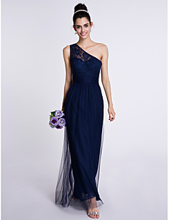 Sheath / Column One Shoulder Ankle Length Lace Tulle Bridesmaid Dress with Lace by LAN TING BRIDE®