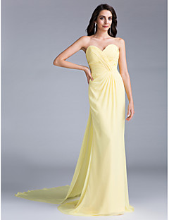cheap -Mermaid / Trumpet Sweetheart Court Train Chiffon Prom / Formal Evening Dress with Criss Cross by TS Couture®