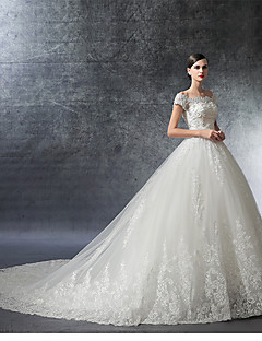 cheap Wedding Dresses-Ball Gown Off Shoulder Cathedral Train Satin Lace Over Tulle Custom Wedding Dresses with Crystal Appliques Ruffle by LAN TING Express