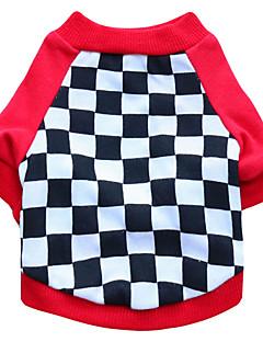 billiga Hundkläder-Katt Hund T-shirt Hundkläder Geometrisk Svart Röd Cotton Kostym För husdjur Herr Dam Mode