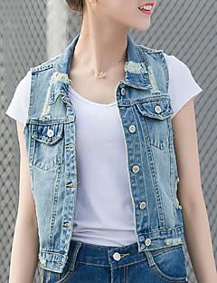 Χαμηλού Κόστους Classic Vests-Γυναικεία Jachete Denim Απλός Καθημερινό Κομψό στυλ street-Μονόχρωμο