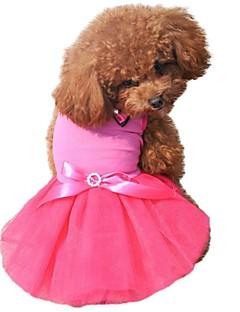 billiga Hundkläder-Katt Hund Klänningar Hundkläder Färgblock Kristall/Strass Stenar Rosett Svart Gul Ros Grön Blå Chiffong Cotton Kostym För husdjur Herr Dam