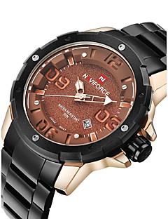 billige Høj kvalitet-NAVIFORCE Herre Quartz Japansk Quartz Armbåndsur Militærur Kalender Vandafvisende Rustfrit stål Bånd Mode Sej Sort