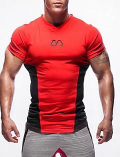お買い得  ランニングシャツ/パンツ/ショーツ-男性用 Vネック ランニングTシャツ - レッド, グリーン, ブルー スポーツ トップス 半袖 アクティブウェア 高強度, ソフト, 快適 伸縮性あり