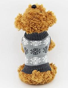 お買い得  犬用ウェア-ネコ 犬 セーター 犬用ウェア クラシック 保温 スノーフレーク柄 グレー コーヒー コスチューム ペット用