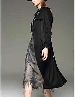 Vrouwen Street chic Herfst Trenchcoat,Casual/Dagelijks Puntige revers-Lange mouw Zwart / Grijs / Geel Effen Medium Speciale ledertypen