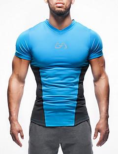 billiga Träning-, jogging- och yogakläder-Herr V-hals 1 st T-shirt för jogging - Röd, Grön, Blå sporter Överdelar Fitness, Gym, Träna Kortärmad Sportkläder Hög Styrka, Mjuk, Bekväm Elastisk