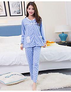baratos Pijamas Femininos-Mulheres Colarinho de Camisa Roupão Pijamas - Estampado, Poá