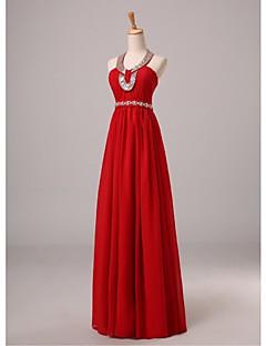 a-lineホールターの長さシフォンイブニングドレスとビーズリボンのサイドドレープネームライシャ