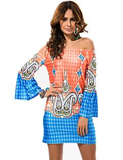 お買い得  レディースドレス-女性用 プラスサイズ ビーチ ボヘミアン シフト ドレス - プリント, グラフィック ミニ オフショルダー