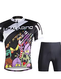 billige Sett med sykkeltrøyer og shorts/bukser-ILPALADINO Herre Kortermet Sykkeljersey med shorts - Svart Sykkel Jersey / Klessett, Fort Tørring, Ultraviolet Motstandsdyktig, Pustende