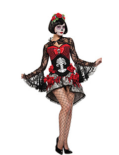 billige Halloween- og karnevalkostymer-Ghostly Bride Cosplay Kostumer Party-kostyme Dame Halloween De dødes dag Festival / høytid Spandex Drakter Svart / Rød Blonder
