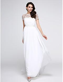 hesapli TS Couture®-A-Şekilli Illüzyon boyun çizgisi Yere Kadar Şifon Aplik Drape ile Resmi Akşam Elbise tarafından TS Couture®