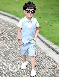 tanie Odzież dla chłopców-Komplet odzieży Bawełna Codzienny Jendolity kolor Lato Bez rękawów Niebieski Różowy