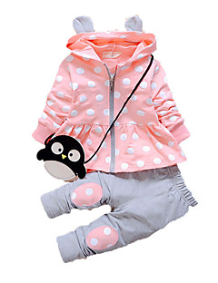 Girls' Casual/Daily Print Clothing Set,Cotton Spring Fall Long Sleeve Regular Cartoon Gray Fuchsia Pink Lavender