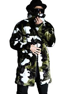 billige plusstørrelser-Langærmet Herre camouflage Vinter Afslappet/Hverdag Plusstørrelser Trenchcoat,Imiteret pels