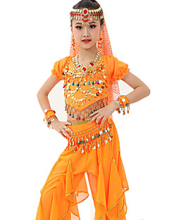 cheap Kids' Dancewear-Belly Dance Outfits Children's Performance Gold Coins Ruched 7 Pieces Fuchsia / Light Blue / Light Green /  Royal Blue