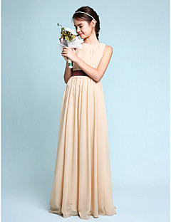 Sheath / Column Scoop Neck Floor Length Chiffon Junior Bridesmaid Dress with Draping by LAN TING BRIDE®