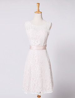 A-Line Illusion Neckline Knee Length Lace Cocktail Party Dress with Bow(s) Sash / Ribbon by AIMITE