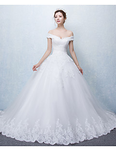 Ball Gown Off-the-shoulder Cathedral Train Tulle Wedding Dress with Appliques Ruffle by DRRS