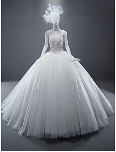 Ball Gown Sweetheart Sweep / Borsteltrein Tulle Trouwjurk Met Kristal Door Drrs