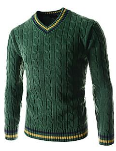 baratos Suéteres & Cardigans Masculinos-Homens Esportes Manga Longa Lã Pulôver - Listrado Lã