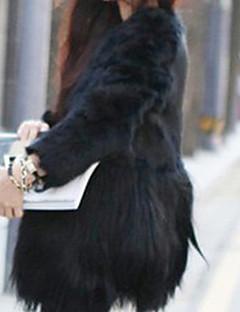 Χαμηλού Κόστους -Γυναικεία Γούνινο παλτό Καθημερινά / Πάρτι/Κοκτέιλ / Μεγάλα Μεγέθη Απλό Μονόχρωμο / Συνδυασμός Χρωμάτων,Μακρυμάνικο Στρογγυλή Λαιμόκοψη
